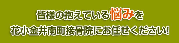 皆様の抱えている悩みを花小金井南町接骨院にお任せください!